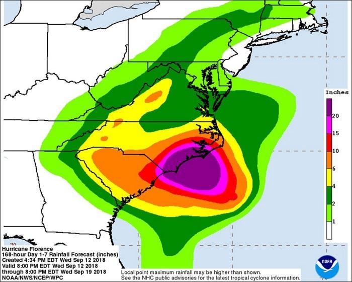 Her İki Carolina Eyaletinde ve Virginia Eyaletinde Bulunan Kimyasal Tesisler Floransa Kasırgasının Öfkesine Karşı Önlemlerini Alıyor
