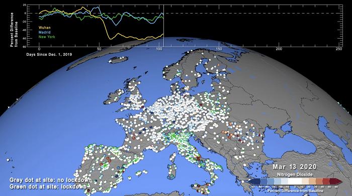 NASA Modeli COVID ile İlgili Kirlilik Seviyelerinin Normalden Ne Kadar Saptığını Ortaya Koyuyor